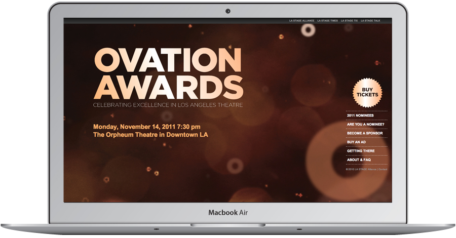 Microsite for LA STAGE Ovation Awards